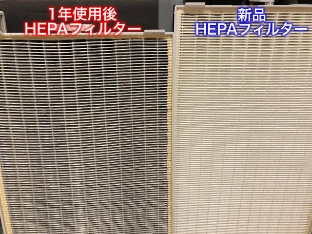 HEPAフィルター1年使用後と新品の比較